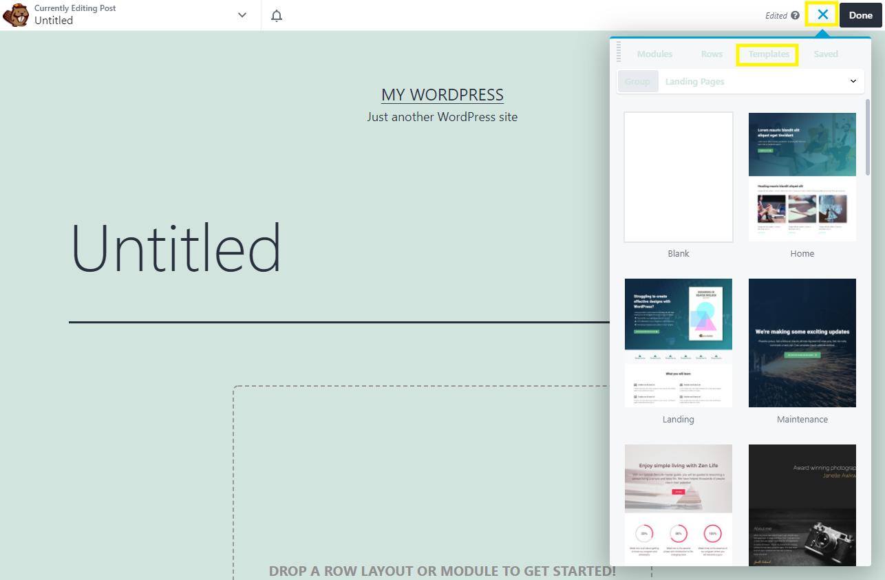 The Beaver Builder templates menu option.