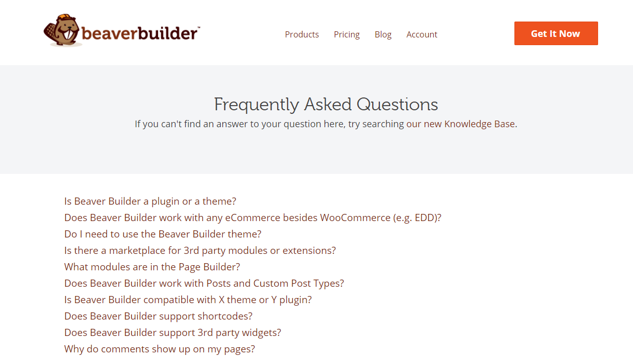 The Beaver Builder FAQs page.