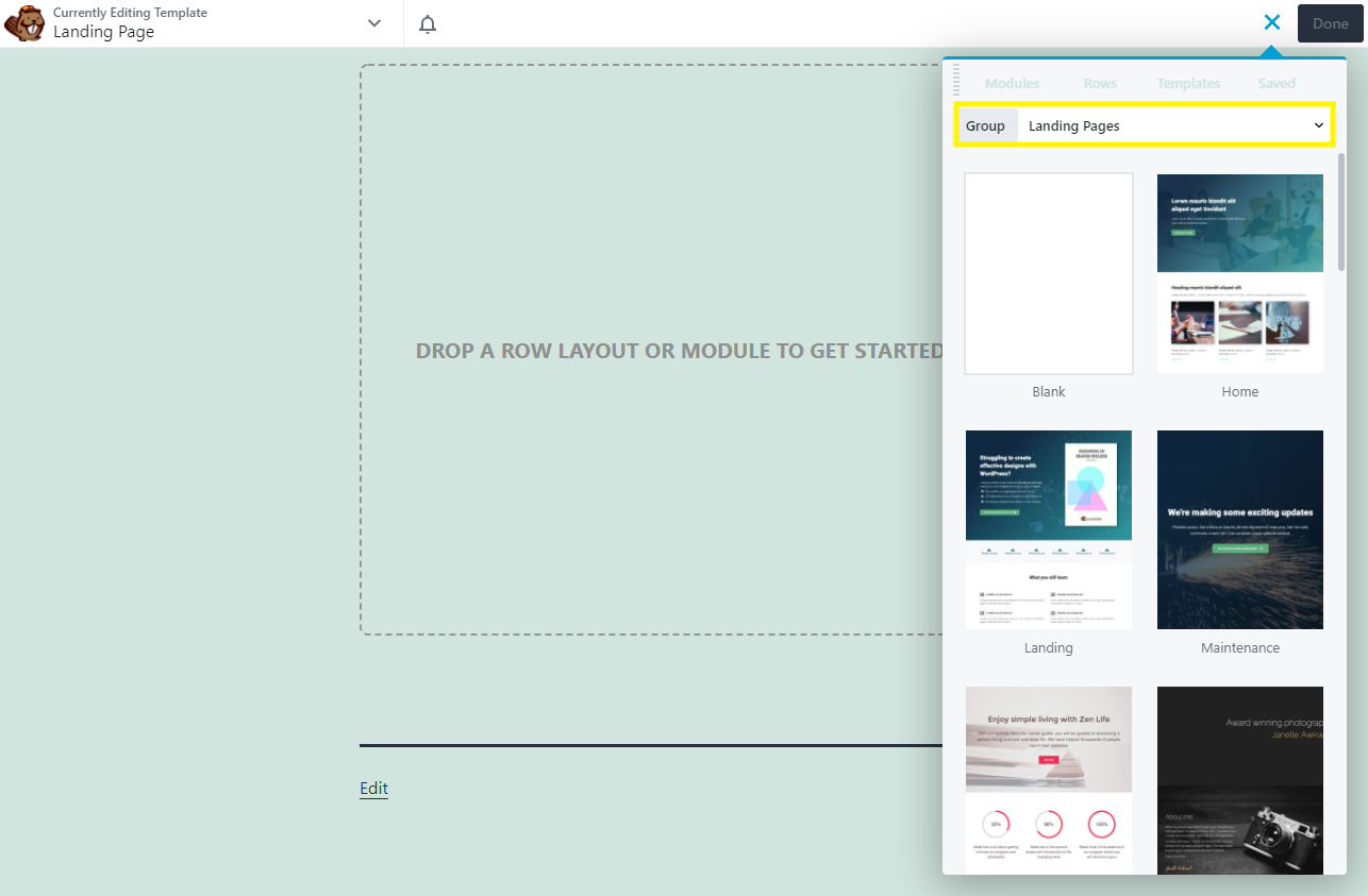 The Landing Page templates options in Beaver Builder.