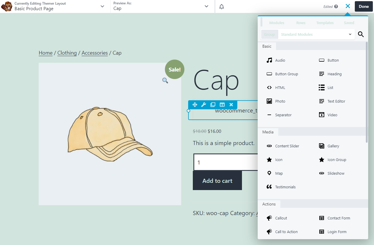 An example of a basic product page created with Beaver Builder.