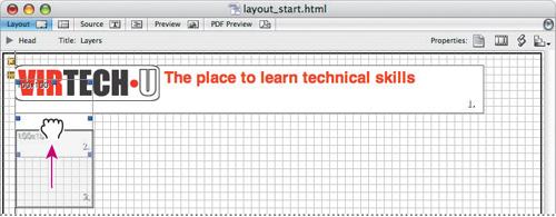 Adobe GoLive's drag'n'drop layout grid